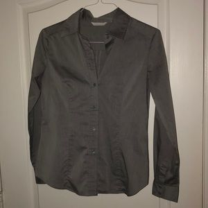 New York & Company Button Down Shirt Grey Size Med